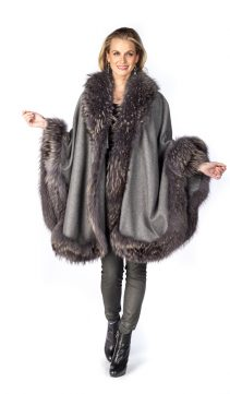 genuine cashmere cape-grey finn raccoon trim