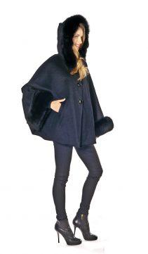 womens cape jackets-black cashmere cape