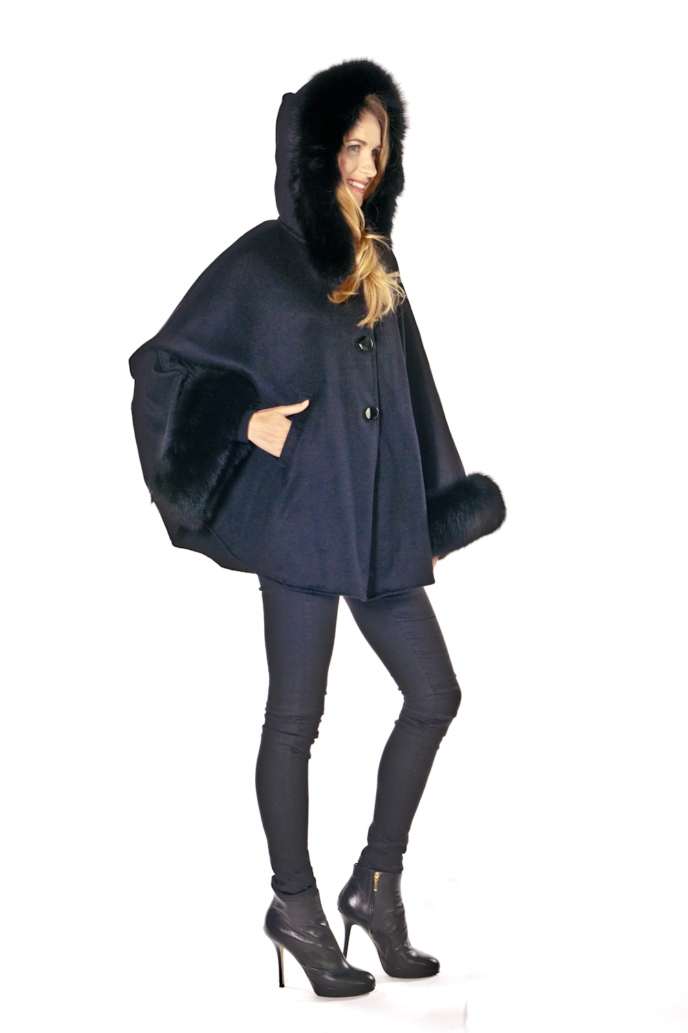 womens cape jackets-black cashmere cape