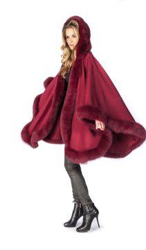 cashmere cape with fox trim