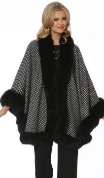 cashmere cape-black fox trim