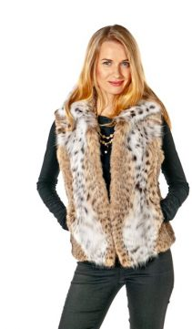 genuine lynx fur vest-johnny collar
