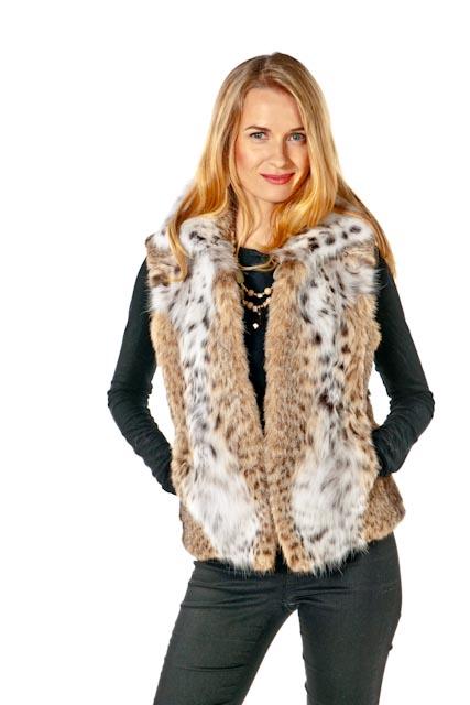 genuine lynx fur vest-johnny collar