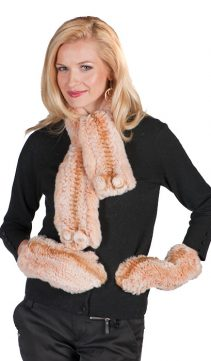 natural fur scarf and glove-real knitted fur scarf and muffler set-apricot-beige