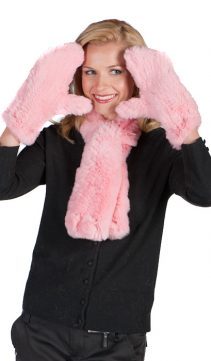 real knitted pink fur scarf and glove set-petunia