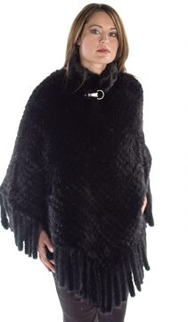 Knitted-Mink-Black-Poncho-Cape