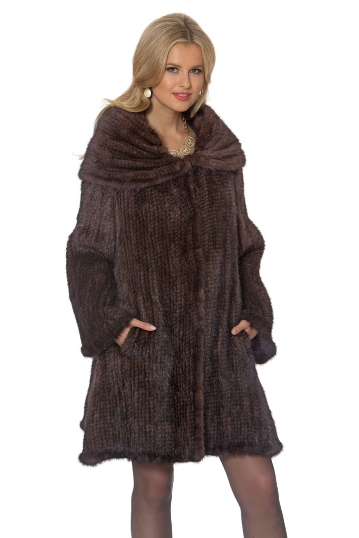 knitted mink fur coat with fur collar-large cape-mahogany mink coat