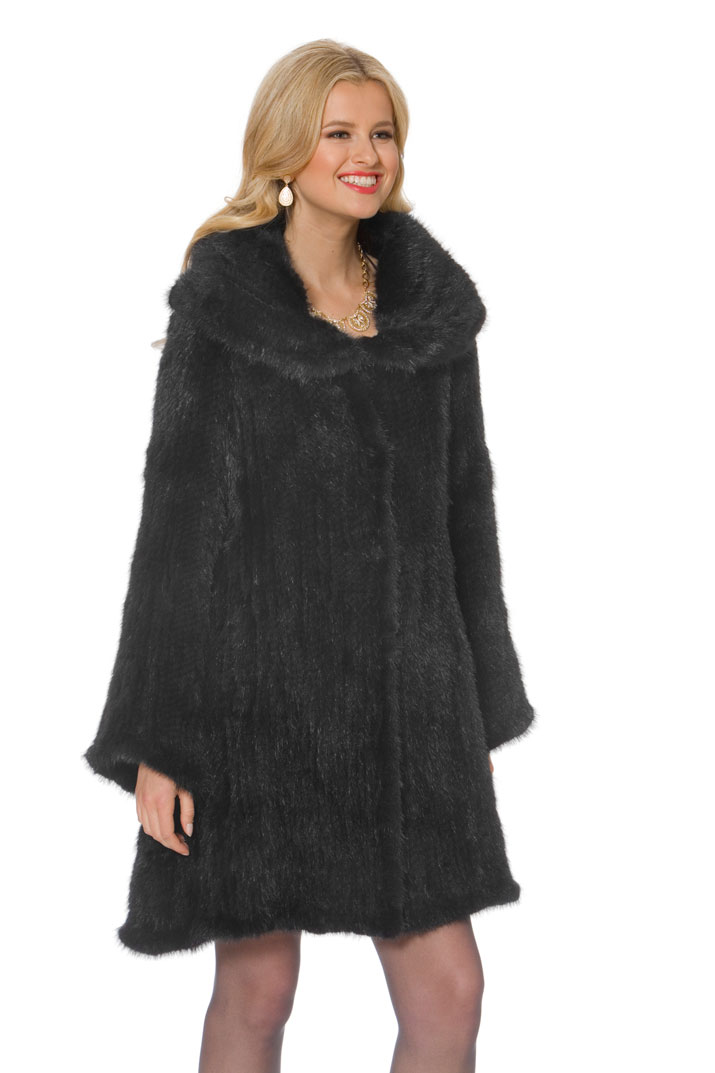 Women's Mink Coat Knitted-Large Cape Collar