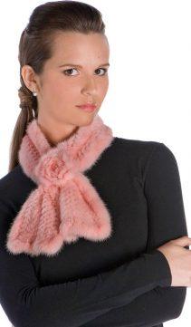 Knitted-Mink-Scarf-Pink-Mink-Rosette
