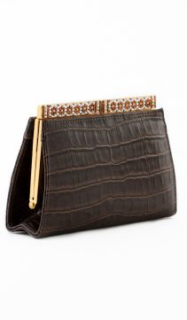 Leather-Evening-Bag-Brown-Leather-Crocodile
