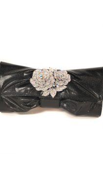 Lizard-Leather-Clutch-Bag-Swarovski-Roses