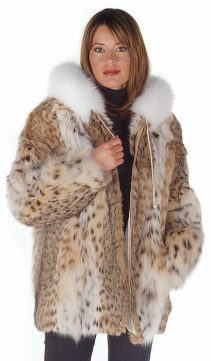 genuine hooded lynx fur jacket parka