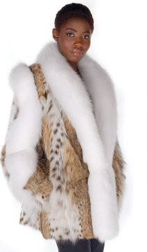 lynx fur jacket with natural fox fur trim