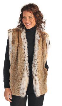 natural real lynx vest for women - V neck style
