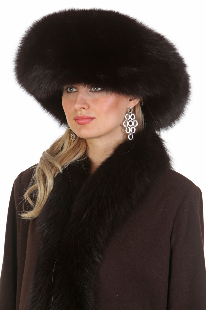 fox and mink hat-mahogany mink fur hat