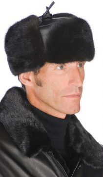 genuine men fur hat trooper mink with leather