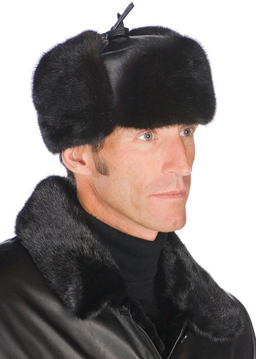 genuine men fur hat trooper mink with leather