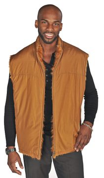 men's natural fur vest-golden-reversible zippered