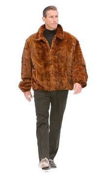 Real Mink Fur Jacket For Men-Golden Mink Bomber Style
