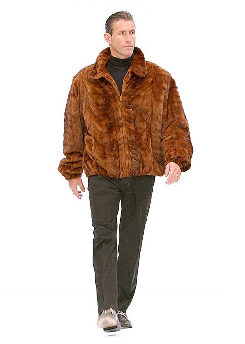Real Mink Fur Jacket For Men-Golden Mink Bomber Style 6b8ecbbec2ad