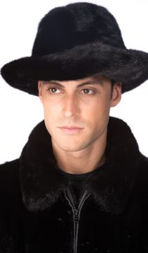 genuine mink fur fedora hat for men