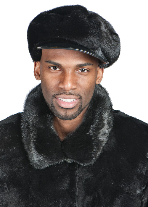 men's mink fur hat with leather bill