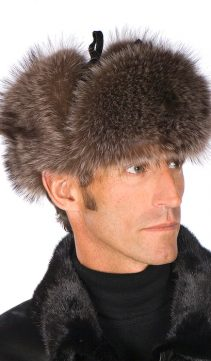 Mens-Raccoon-Trooper-Fur-Hat-Leather-Crown