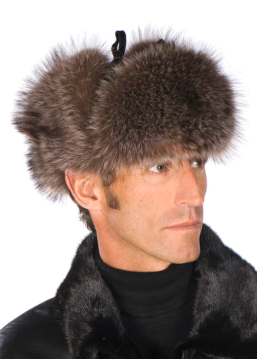 natural raccoon fur trooper hat-leather crown