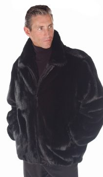 natural real ranch mink jacket for men-bomber-zippered-full pelts