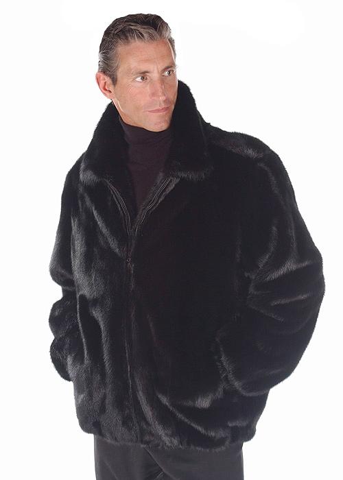 natural real ranch mink jacket for men-bomber-zippered-full pelts
