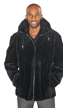 Mens-Sheared-Beaver-Zippered-Bomber-Jacket-Black