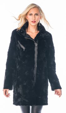 genuine motorcycle mink jacket-sculptured mink jacket