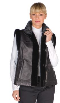Mink-Leather-Vest-Black-Sheared-Mink-Reversible