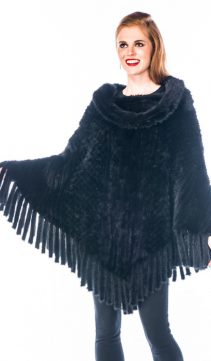 Mink-Poncho-Cape-Black-Knitted-Mink-Roll-Collar