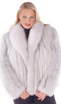 fox fur jacket-real fox fur women's jacket-natural blue fox fur