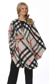 cashmere cape-plaid-winter white