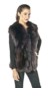 fox vest-fox fur vest-fox fur vest for women-brown-fox fur vest plus size