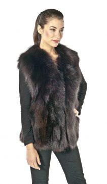 fox vest-fox fur vest-fox fur vest for women-brown-fox fur vest plus size