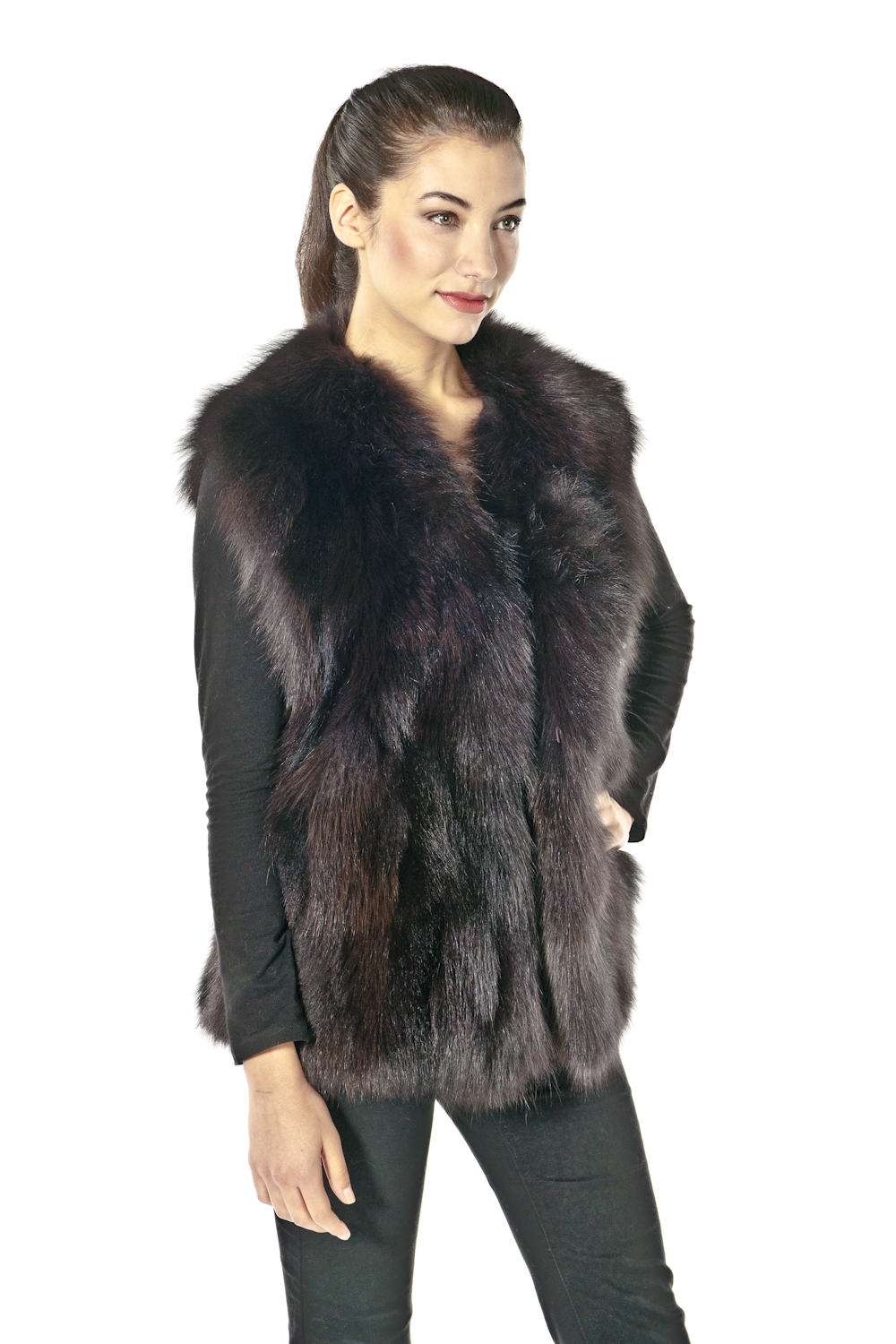 Brown sheared mink fur vest reversible to brown taffeta features casual styling, velvet lined slit pockets and stand-up collar - Women's XS - Day Furs Carmel Indiana.
