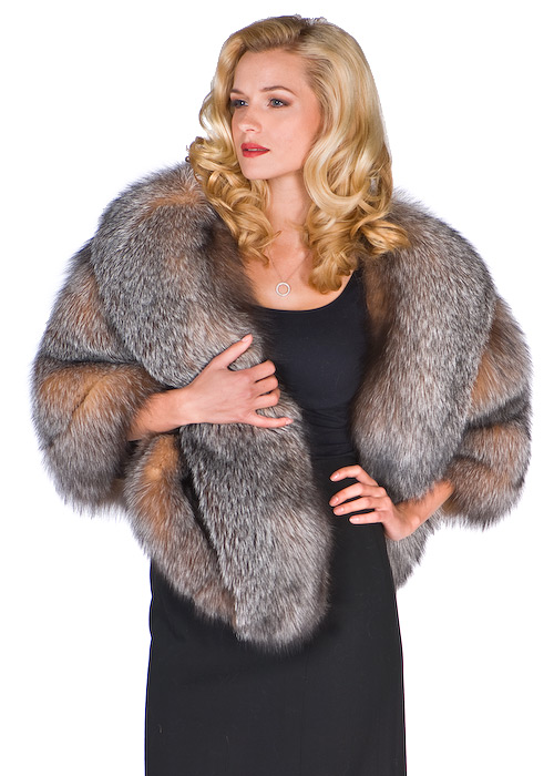 natural fox fur cape-plus size real fur fox cape