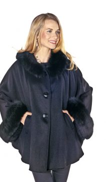 women's fox fur collar and cuffs hooded coat parka-plus size
