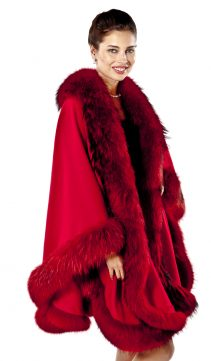cashmere cape fur trim-finn raccoon trim