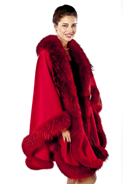 cashmere cape fur trim-finn raccoon trim