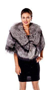 natural fur cape-silver fox fur cape-plus size