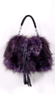 Purple-Silver-Fox-Fur-Handbag-Fringed-Leather