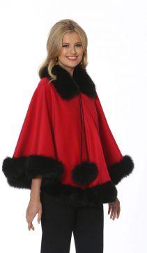 red cashmere cape-black fox trim