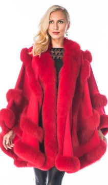 cashmere cape-red fox fur trim