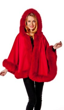 fur cape with hood-red fox fur coat