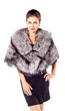 natural fur cape-silver fox fur cape-genuine fox fur cape