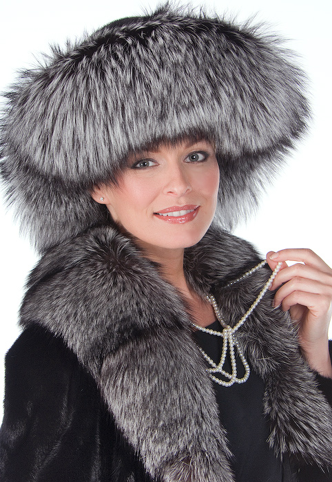 fox and mink hat-silver fox fur hat